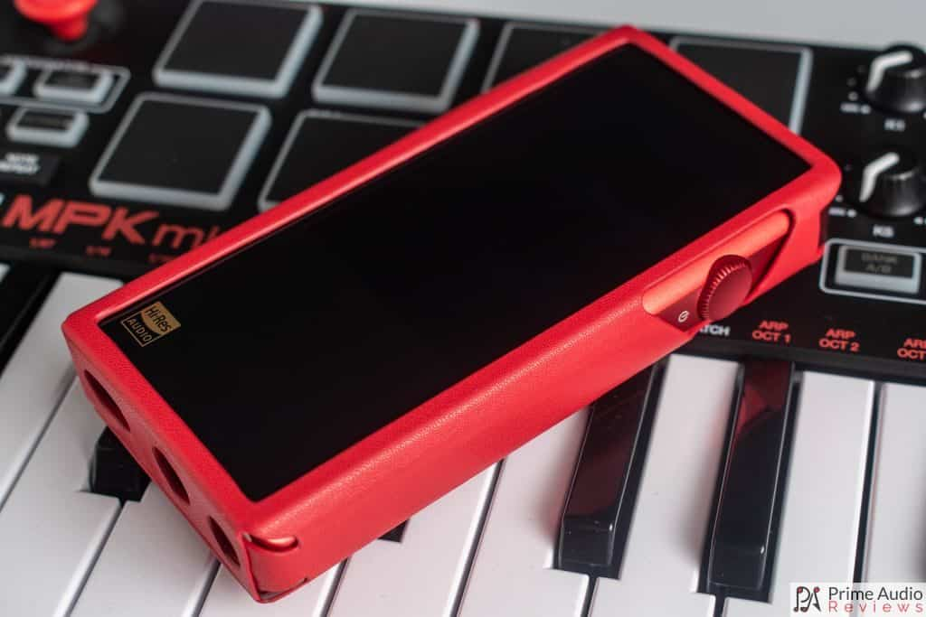 M5s in red leather case