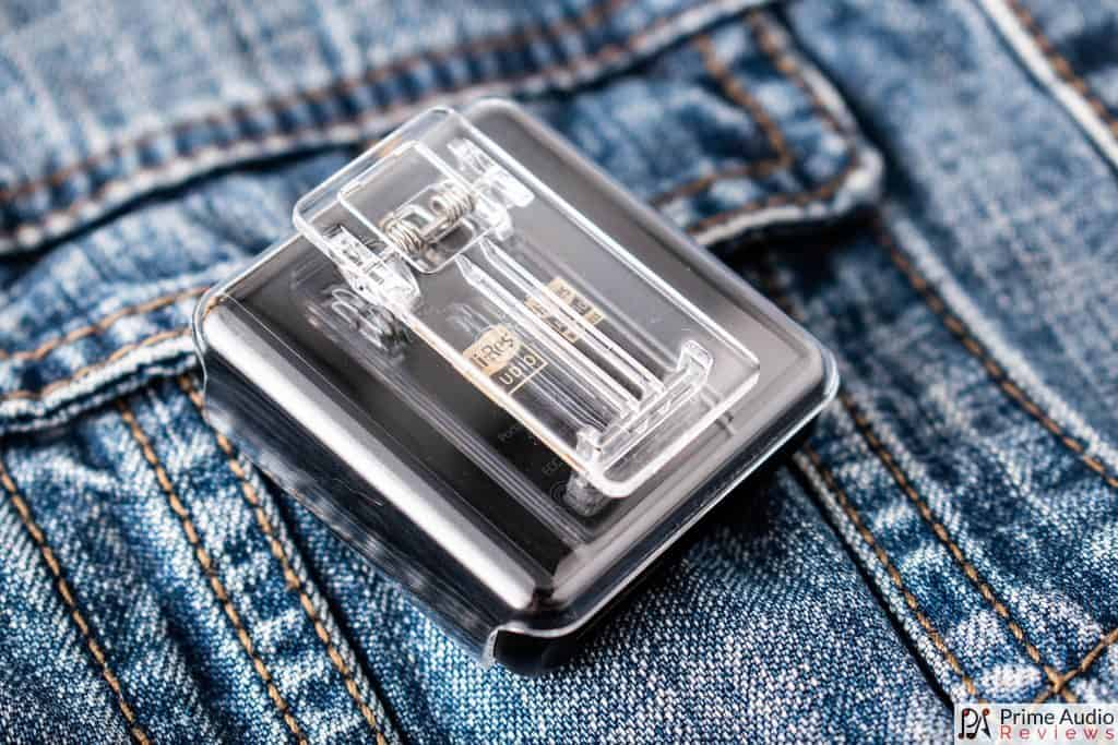 FiiO M5 with clear clip case attached