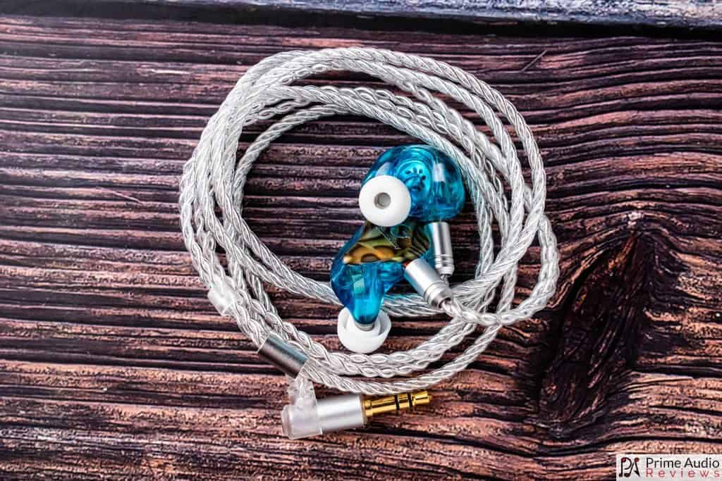 Earpieces with coiled cable topdown