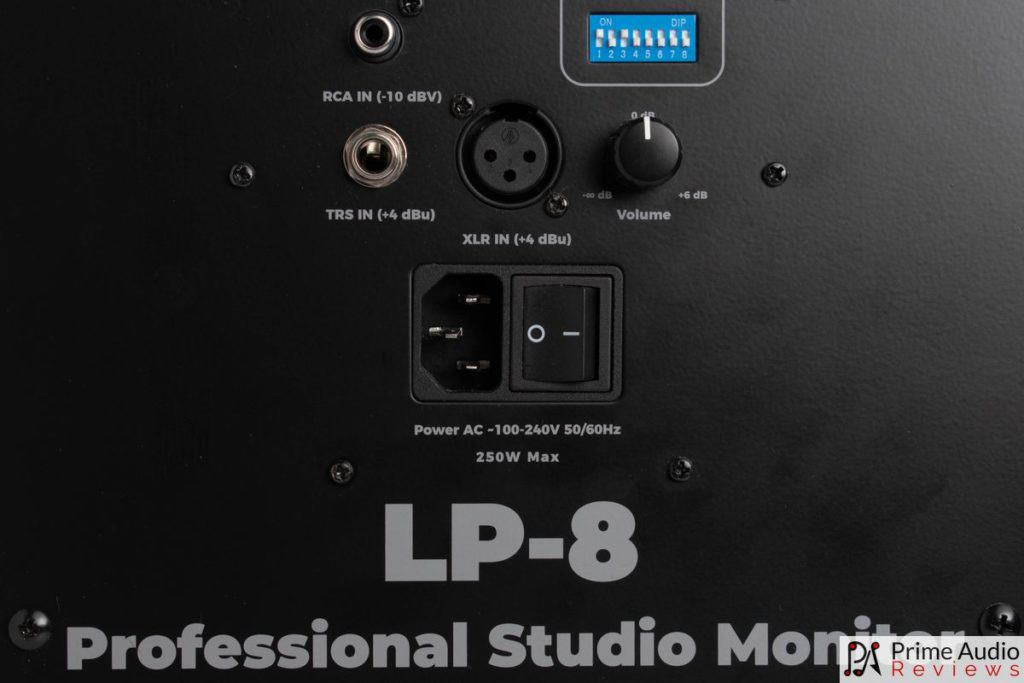 Kali Audio LP-8 inputs, power switch, volume pot and DIP switches