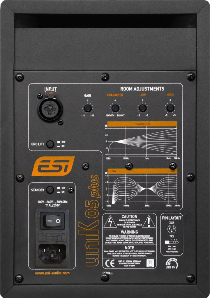 ESI Audio uniK 05+ rear panel