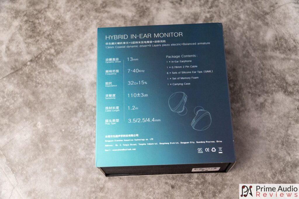 Specs on back of box
