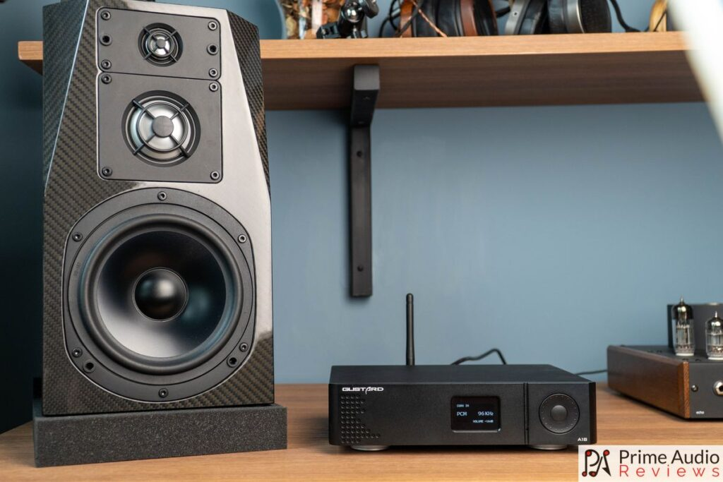 A18 next to the NHT C3 Carbon limited edition speaker.