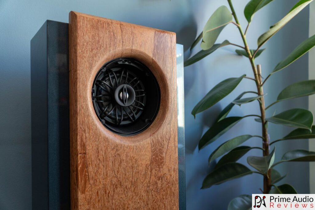 Drivers and wood facade of the Tombo Audio R1
